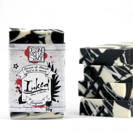 Savon Inked enrichi en aloe vera et oleine de karite - surgras - vegan - mini format